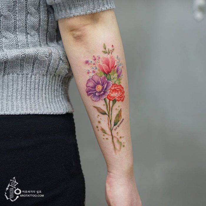 Flower Bouquet Tattoo by Tattooist Silo