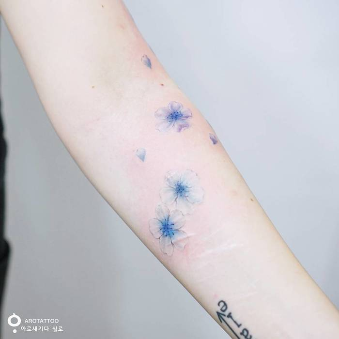 Blue Flower Tattoos by Tattooist Silo