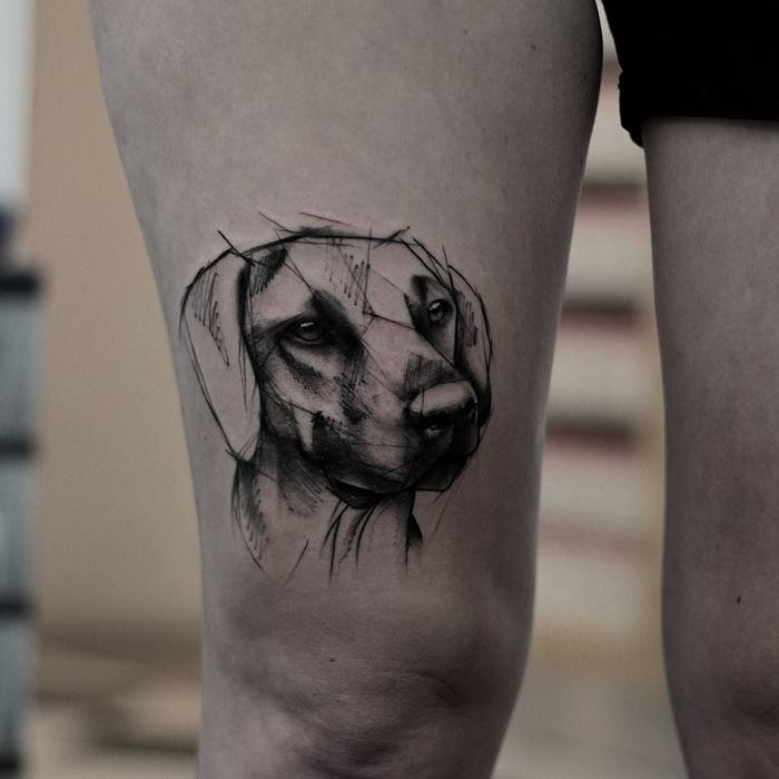 Sketchy Dog Tattoo by kamilmokot