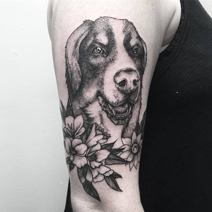 Dog Tattoo with Flowers by Michael George Pecherle