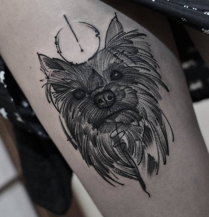 Yorkshire Dog Tattoo by Junnio Nunes