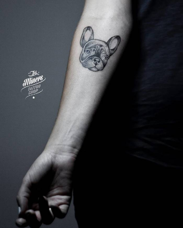 Dotwork French Bulldog Tattoo by Bianka Szlachta