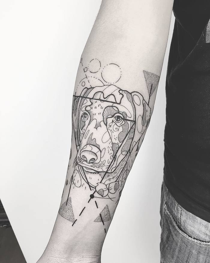 Linework and Dotwork Dog Tattoo by susboom_tattoo