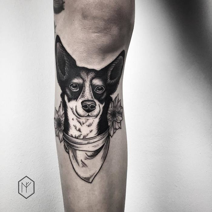 Blackwork Dog Tattoo by Henja Fin