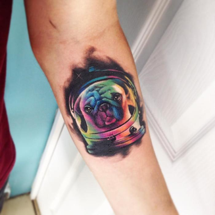 Astronaut Pug Tattoo by Adrian Bascur