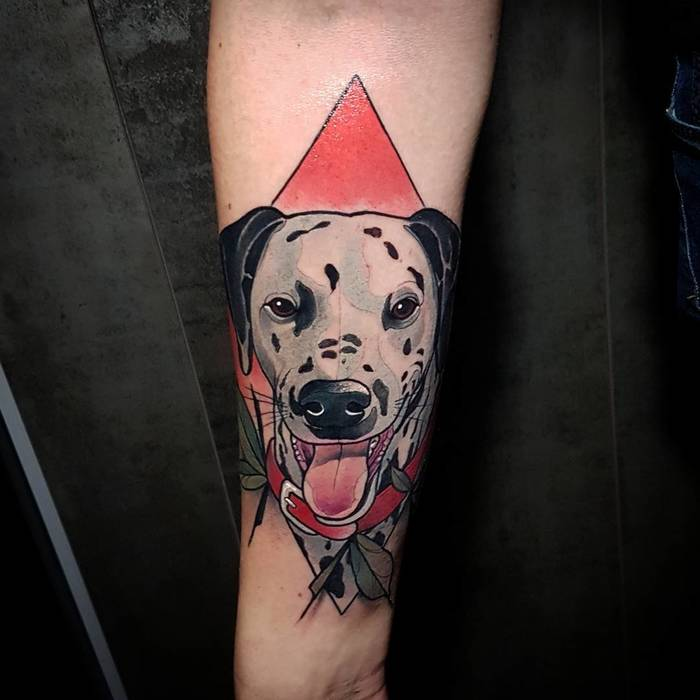 Neotraditional Dalmatian Tattoo by Eric Moreno