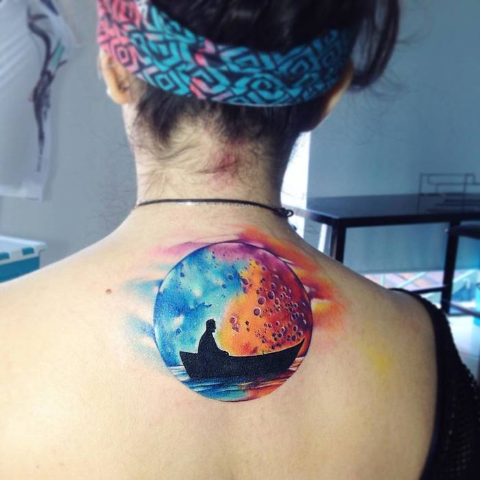 Watercolor Full Moon Tattoo by Adrian Bascur
