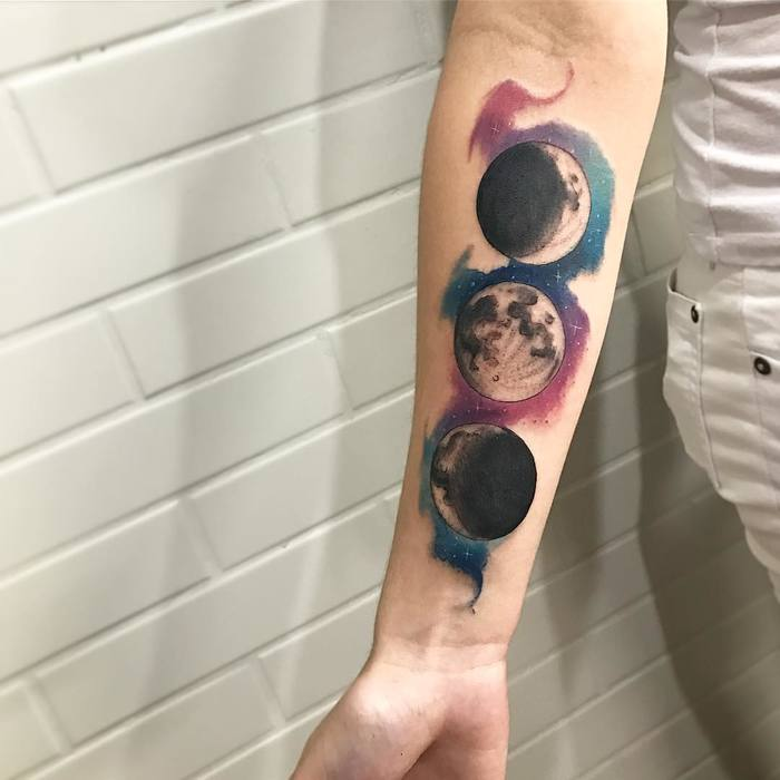 Watercolor Moon Phases by lcjuniortattoo