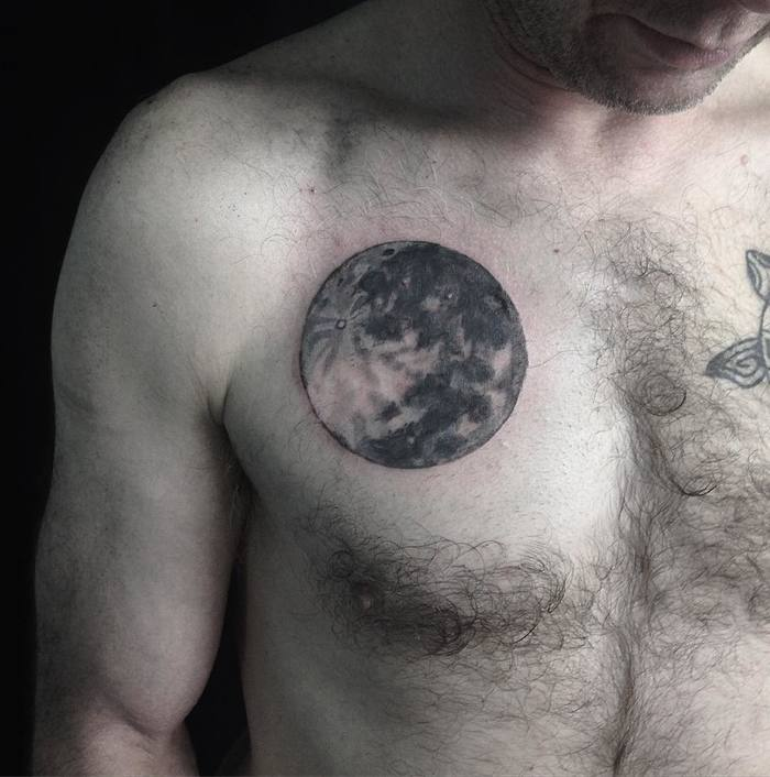 Black and Grey Full Moon Tattoo by emilierobinsontattoo
