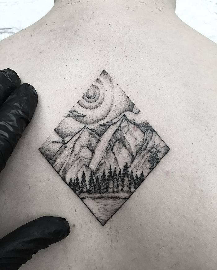 Mountain Tattoo on Back by mgptattoos