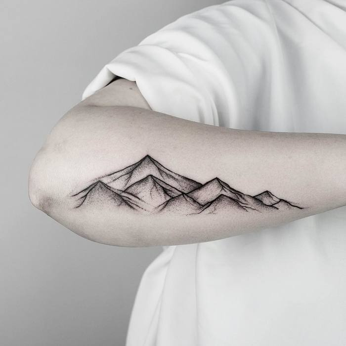 Dotwork Mountain Tattoo by malwina8