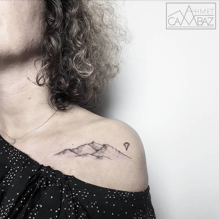 Delicate Mountain Tattoo by ahmet_cambaz