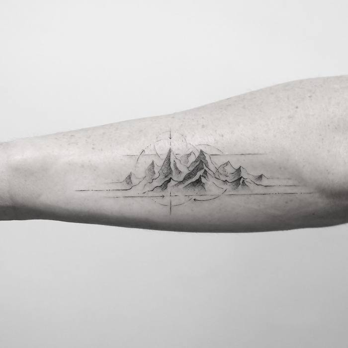 Fine Line Mountain Tattoo by mr.k_tattoo