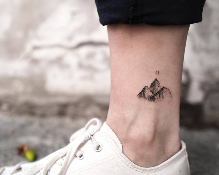 Tiny Dotwork Mountain Tattoo by ilwolhongdam