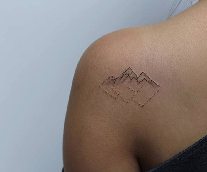 Minimalist Mountain Tattoo by lindsayapriltattoo