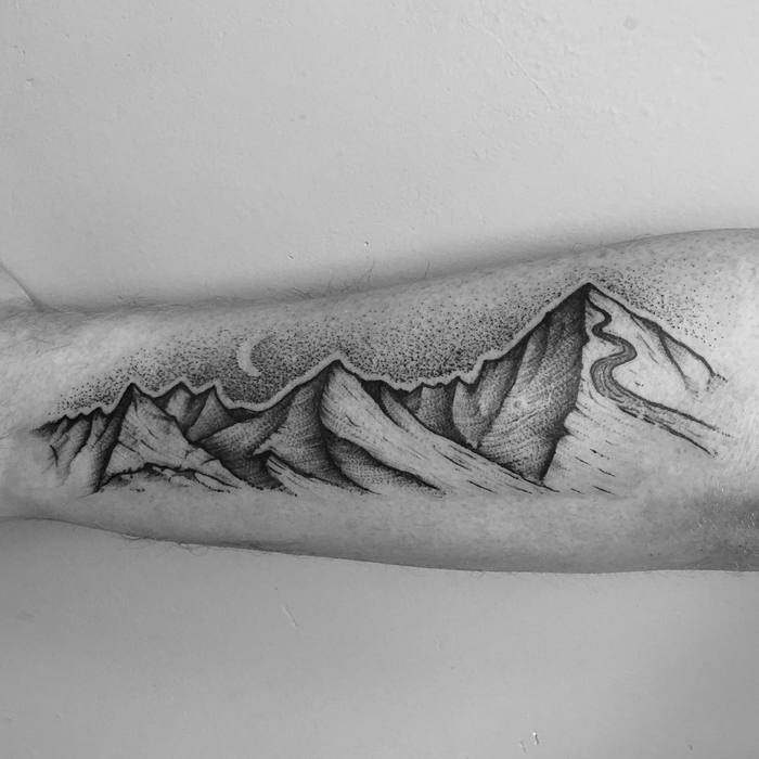 Mountain Range Tattoo by tomtomtatts