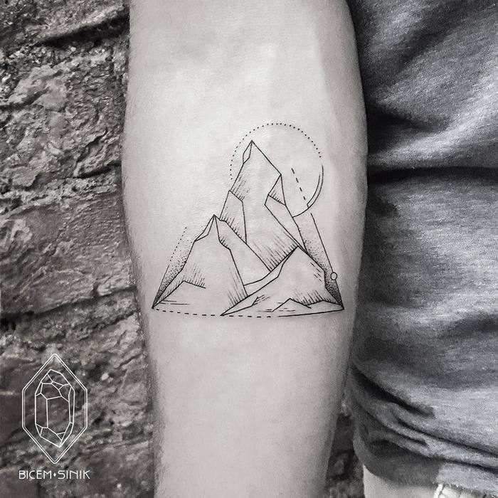 Geometric Mountain Tattoo by bicemsinik