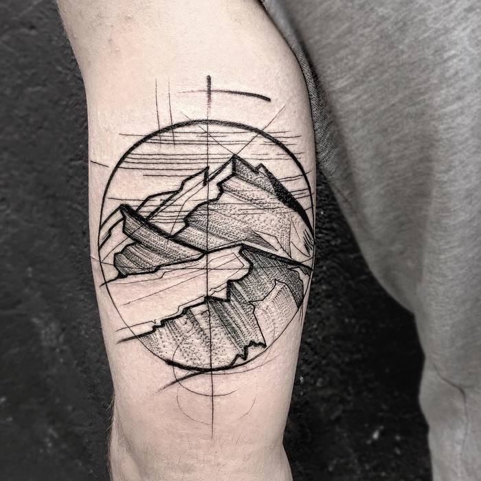 Sketch Style Mountain Tattoo by frankcarrilho