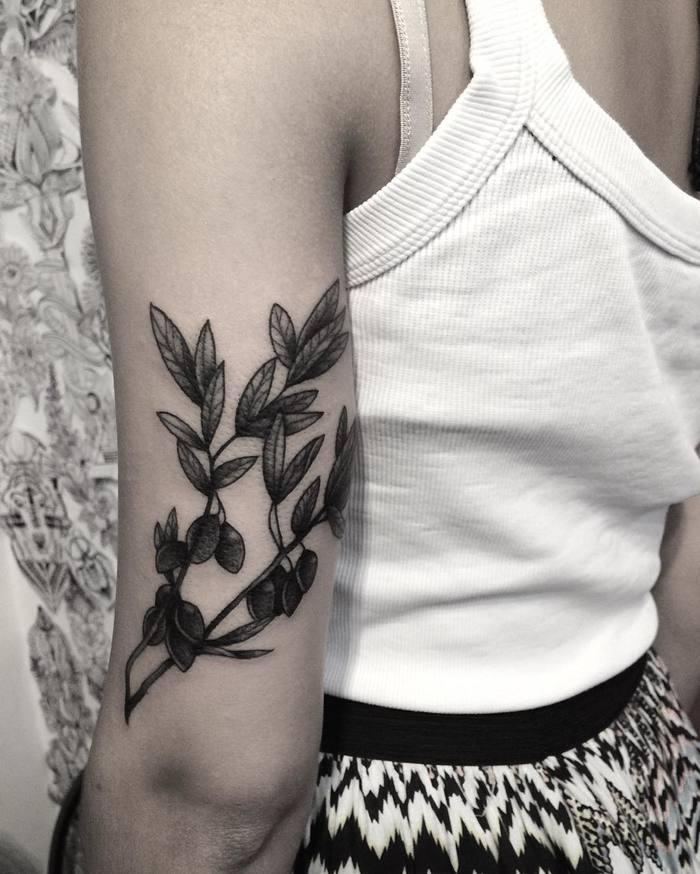 Blackwork Olive Branch Tattoo by brunandradettt