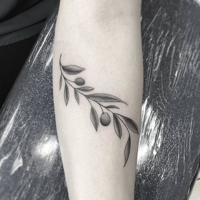 Dotwotk Black and Grey Olive Branch Tattoo by somethinginthesewer