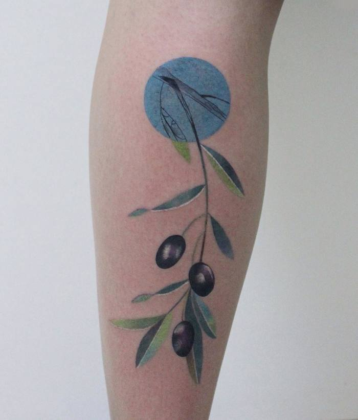 Colored Olive Branch Tattoo by ann_lilya