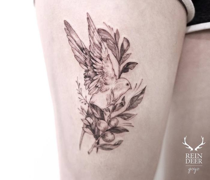Olive Branch and Dove Tattoo by goyotattooart
