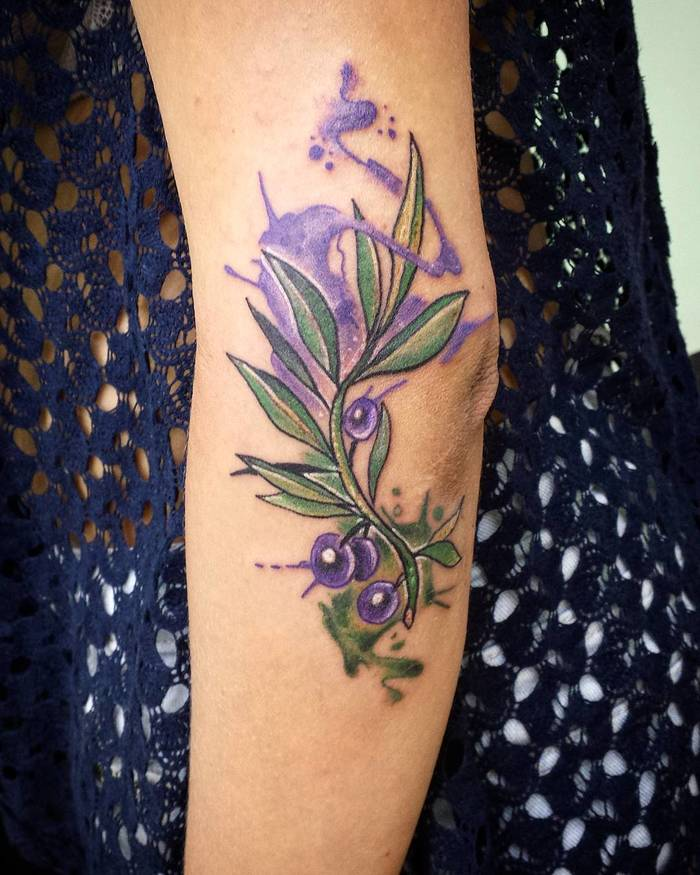 Watercolor Olive Branch Tattoo by pnstatt2