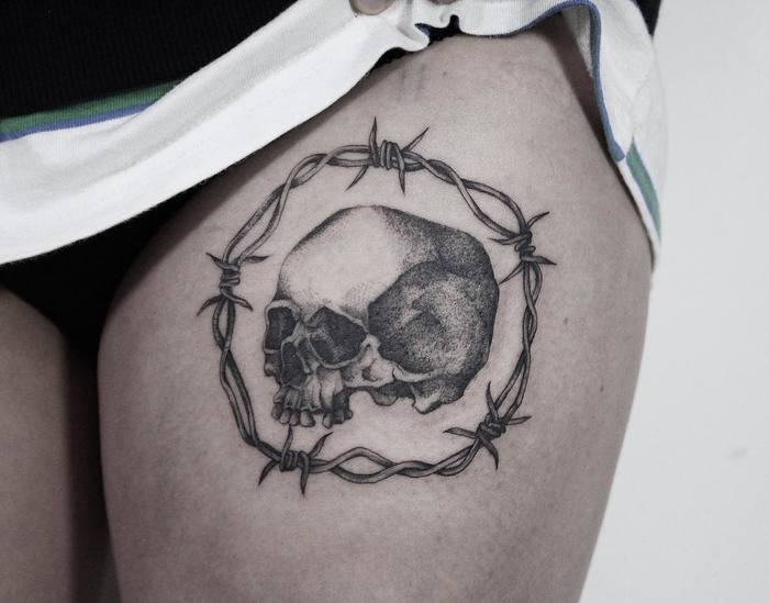 Dotwork Skull Tattoo & Barbed Wire by yejitattoo