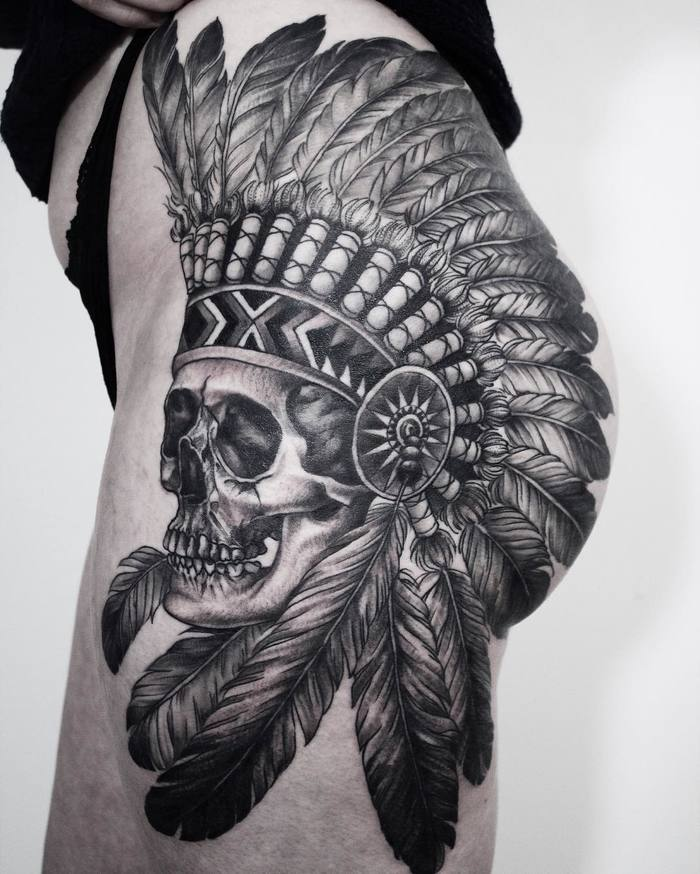 Native American Skull Tattoo by yejitattoo