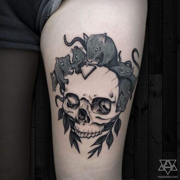 Rats and Skull Tattoo by Fabien