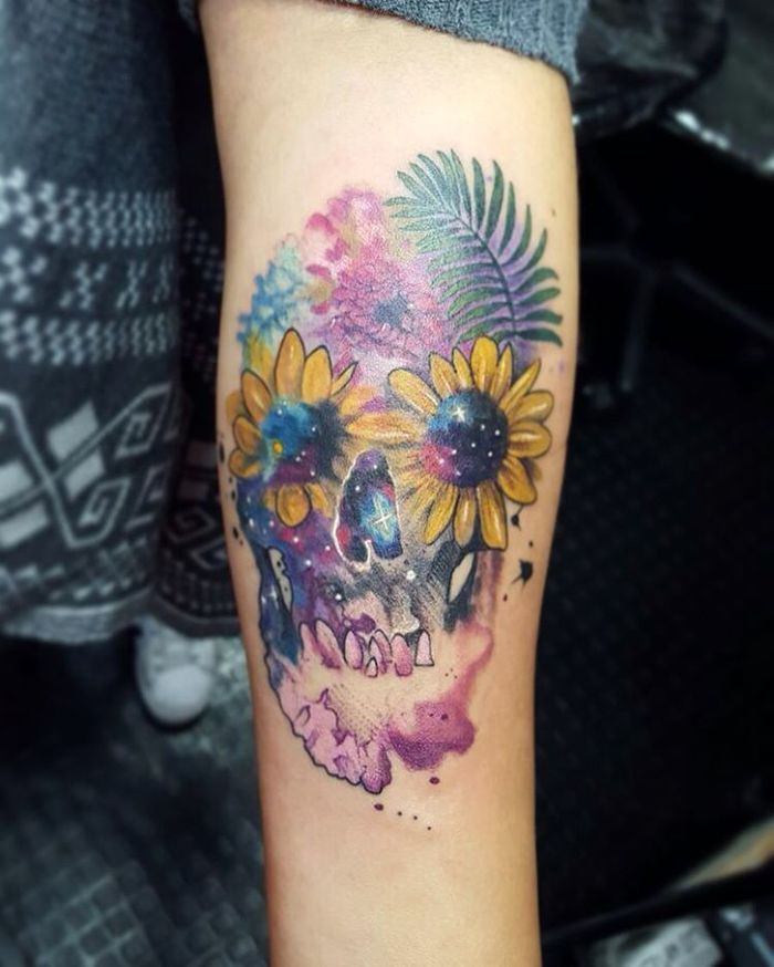 Watercolor Floral Skull by Gustavogh Rincon