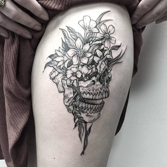 Floral Skull Tattoo by Michael George Pecherle