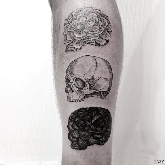 Skull and Flowers Tattoo by oozy