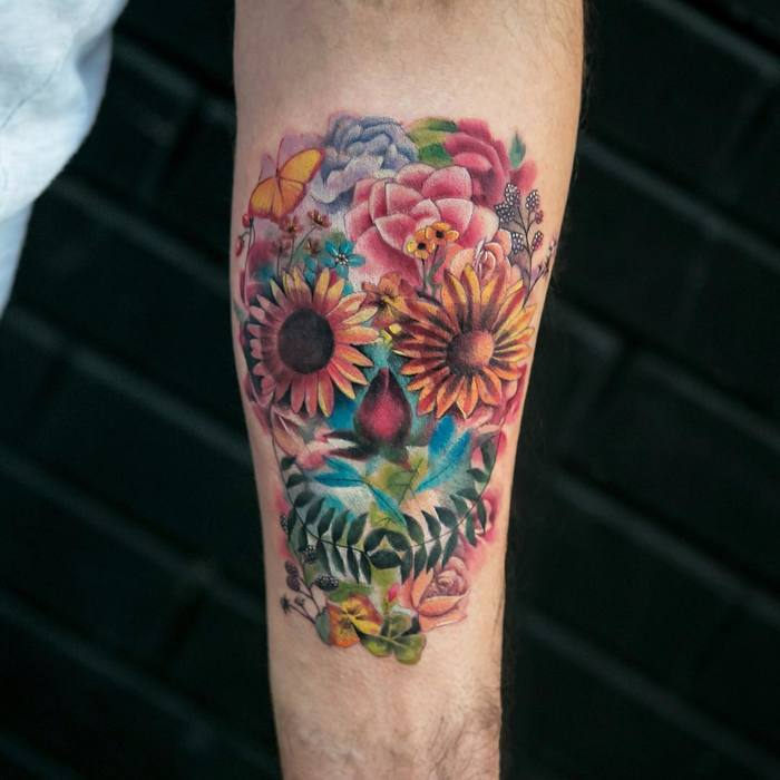 Floral Skull Tattoo by Joice Wang