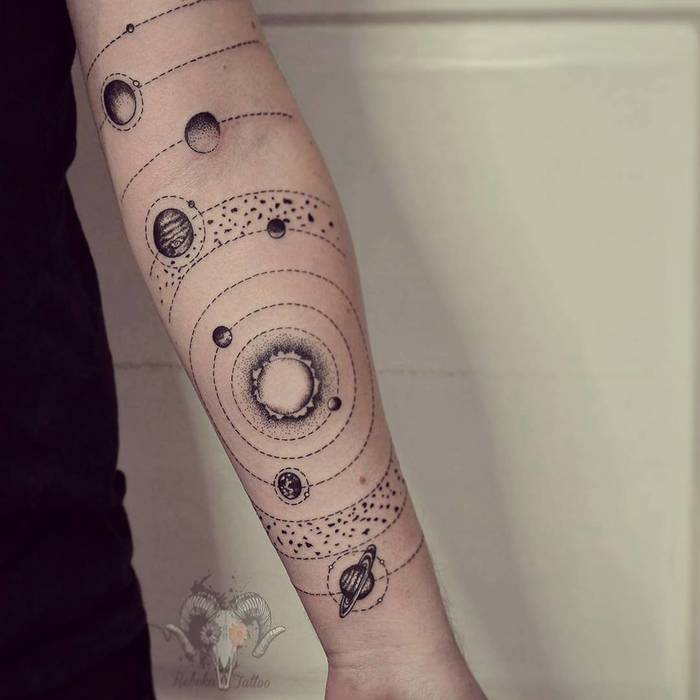 Solar System Tattoo by Rebeka Tratnik