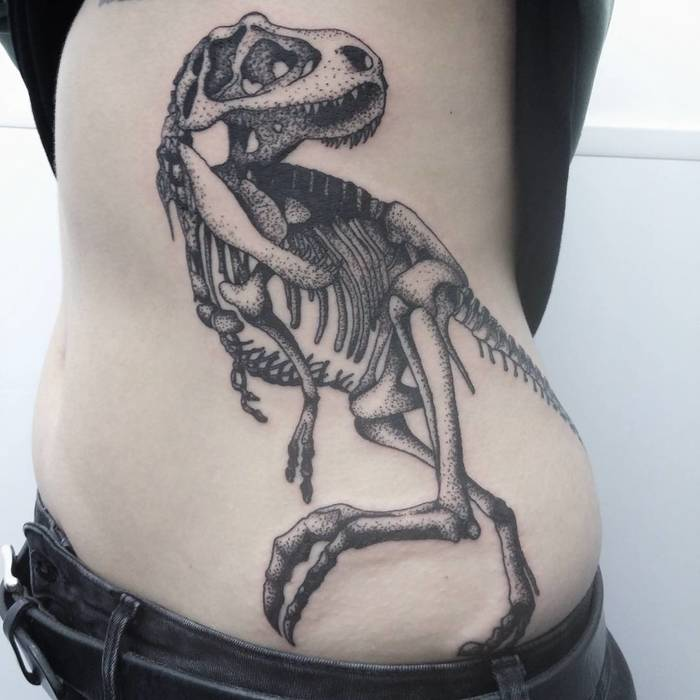 T-Rex Skeleton Tattoo by calumtattoo