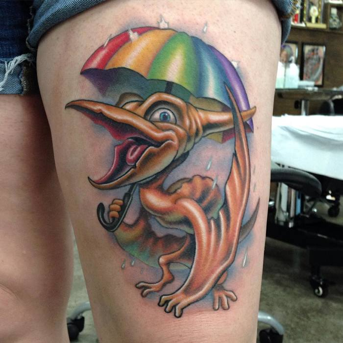 Cartoon Pterodactyl Tattoo by erek_lanier