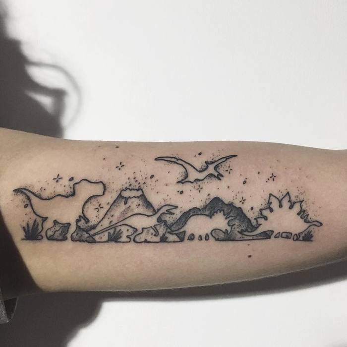 Dinosaurs on Inner Bicep by fherval