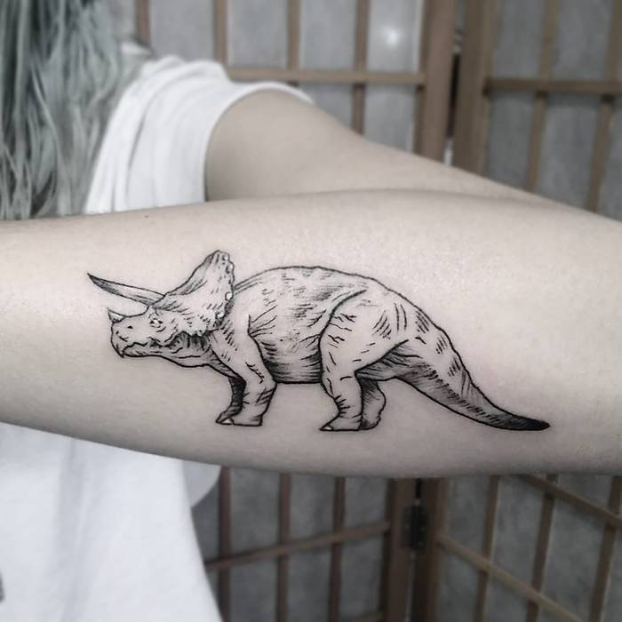 Linework Triceratops Tattoo by angeloguardia