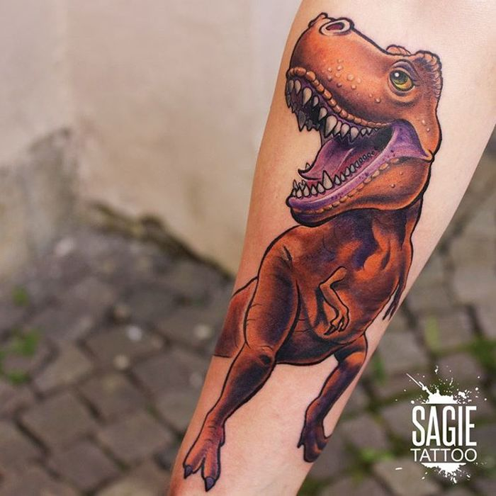 Cartoon Tyrannosaurus Tattoo by sagietattoo