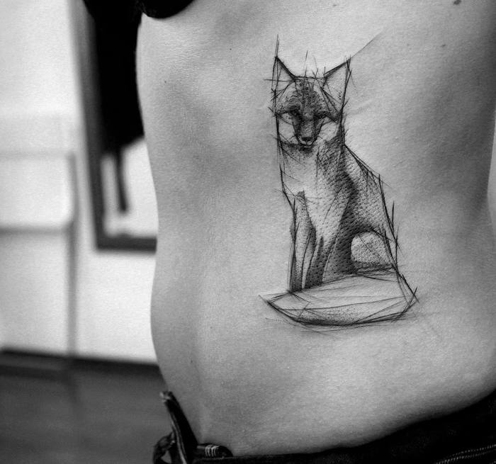 Sketchy Fox Tattoo by kamilmokot