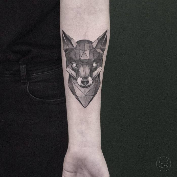 Geometric Fox Head Tattoo by svenrayen