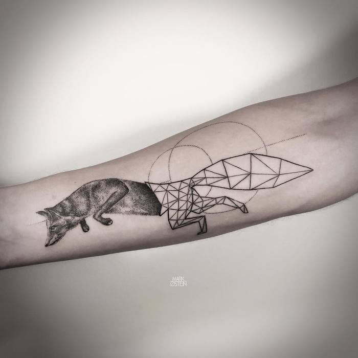 Half Dotwork Half Geometric Fox Tattoo by mark_ostein