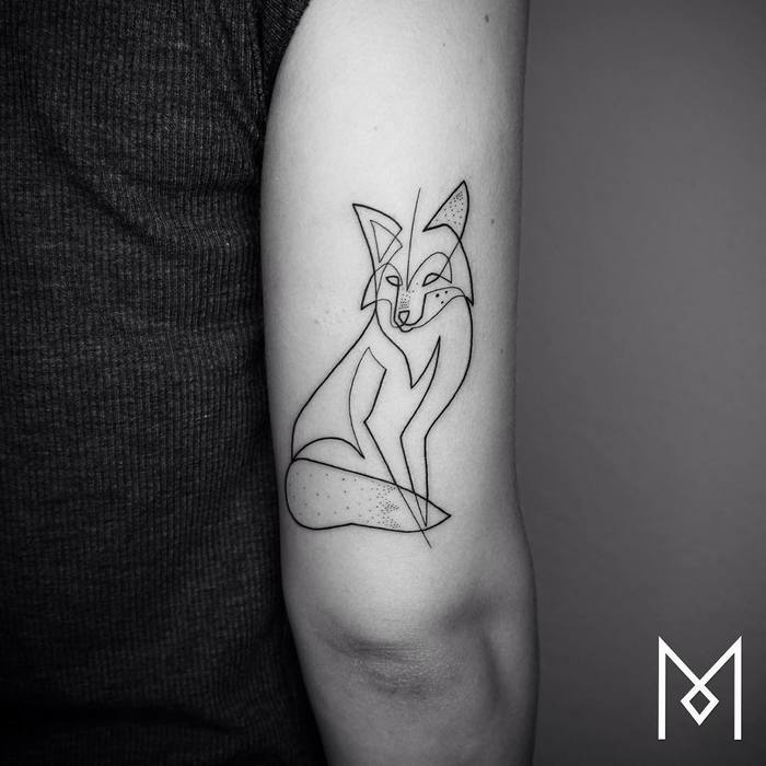 Single Line Fox Tattoo by Mo Ganji