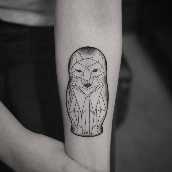 Geometric Matryoshka Fox Tattoo by robgreennyc