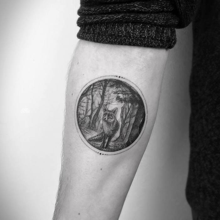 Circular Fox and Landscape Tattoo by mark_ostein