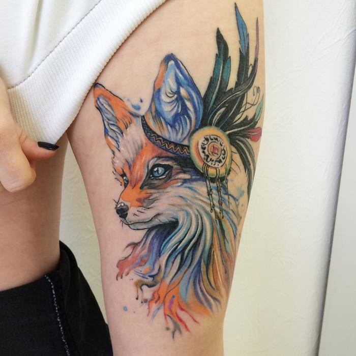 Native American Style Fox Tattoo by victoriascarlet93