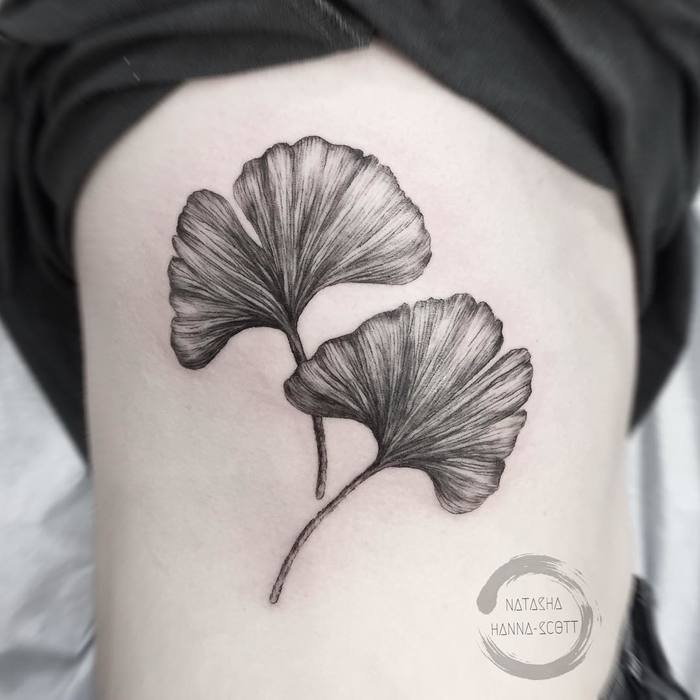 Black and Grey Ginkgo Leaves by nhannascott