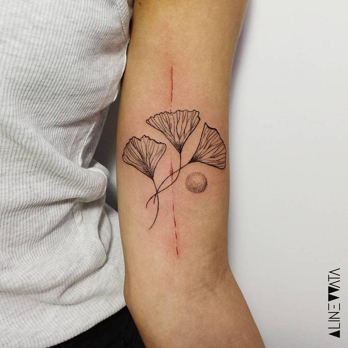 Linework and Dotwork Ginkgo Leaves by alinewata