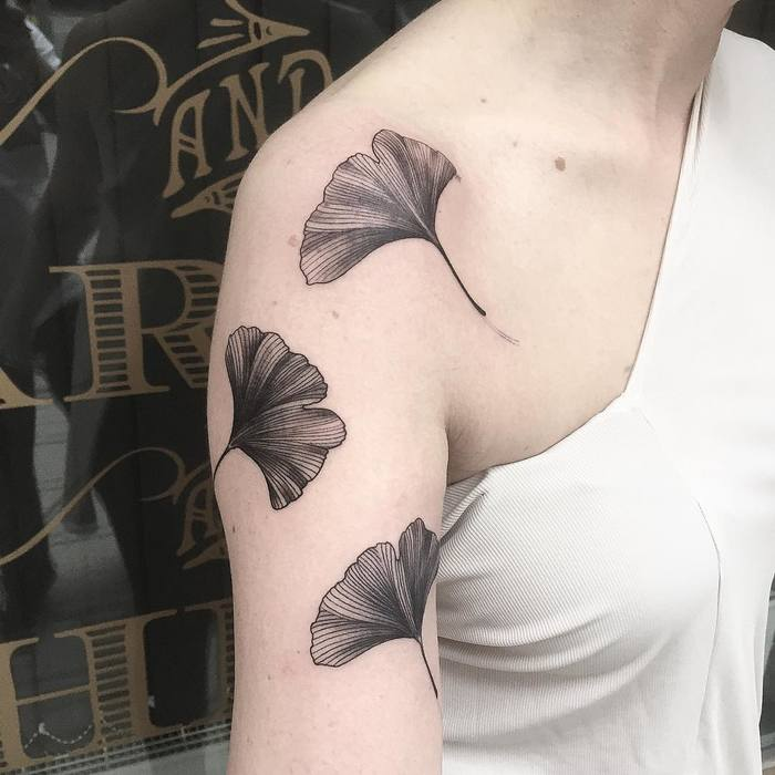 Ginkgo Leaves on Arm by startwithapen